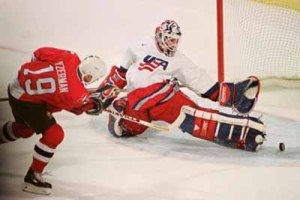 MON04 USA GOALIE MAKES SAVE