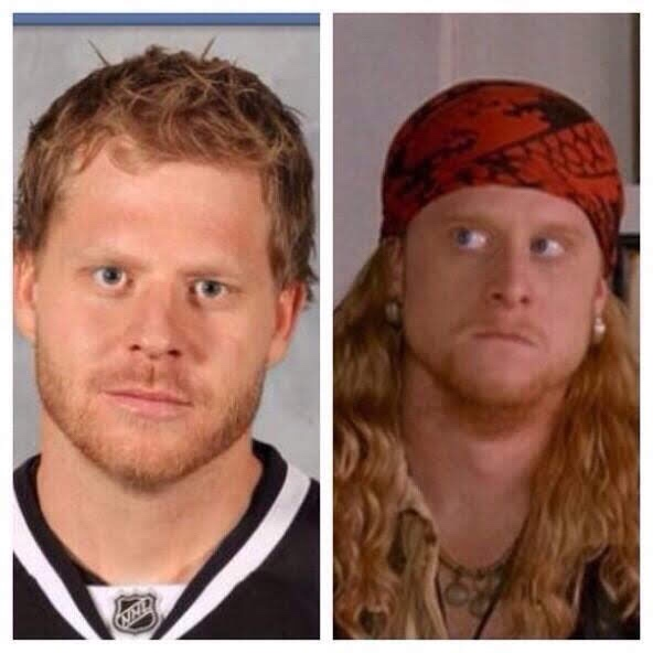 nhl lookalikes steve ott and steve the pirate from dodgeball beer